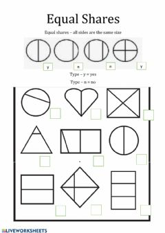 Interactive worksheet Fractions & Equal Parts