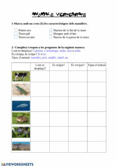Interactive worksheet Animals vertebrats