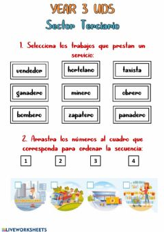 Interactive worksheet Year 3 UD 5 - Sector Terciario
