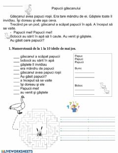Interactive worksheet Știm să citim!