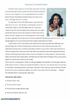Interactive worksheet Becoming by Michelle Obama