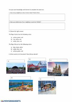 Interactive worksheet Estonia and our neighbours