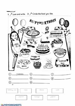 Interactive worksheet Birthday food