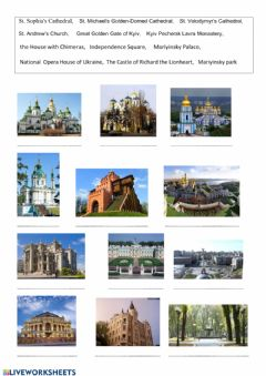 Interactive worksheet Kyiv, famous places