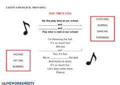Interactive worksheet Play time song