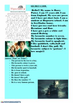 Interactive worksheet Harry Potter Cryptogram and Reading Comprehension