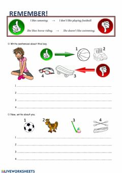Interactive worksheet To like and free time activities