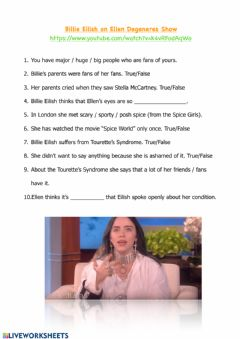 Interactive worksheet Billie Eilish Video