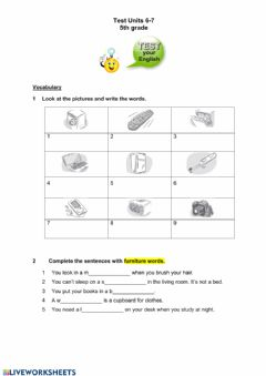 Interactive worksheet Test Units 6-7