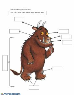 Interactive worksheet Parts of the body - gruffalo