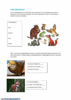 Ficha interactiva Gruffalo characters and T OR F