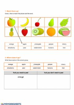 Interactive worksheet Vocabulary: fruits