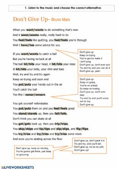 Interactive worksheet Don't Give Up Song