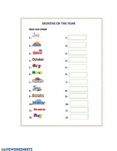 Interactive worksheet Months and seasons of the year