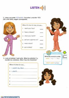 Interactive worksheet Time for bed - Routines