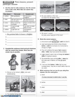 Interactive worksheet Time clauses- present participle clause