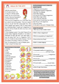 Interactive worksheet Mall Reading