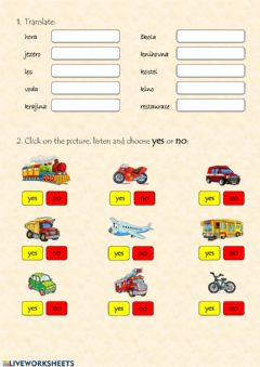 Interactive worksheet Treansport vehicles, coutryside and city vocabulary