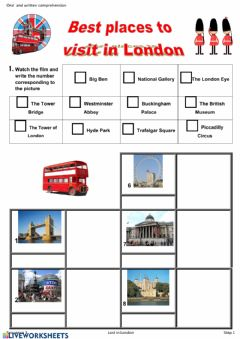 Interactive worksheet London acctractions
