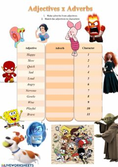 Interactive worksheet Adjectives and Adverbs