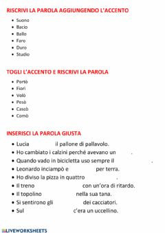 Interactive worksheet Ripasso sulle parole accentate