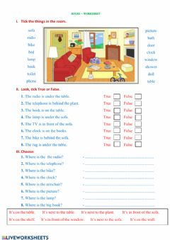 Ficha interactiva preposition- house