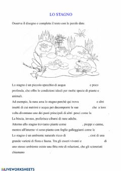 Interactive worksheet L'ecosistema lago