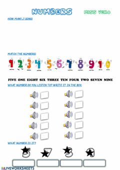 Interactive worksheet Numbers 1 to 10