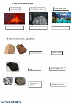 Interactive worksheet Volcanoes and types of rocks