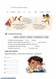 Interactive worksheet Stay healthy song