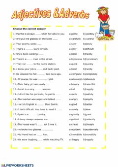 Interactive worksheet Adjectives vs adverbs