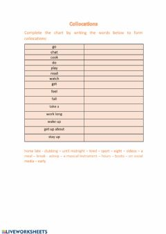 Interactive worksheet Collocations