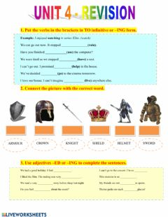 Interactive worksheet Project 4 (unit 4 revision)