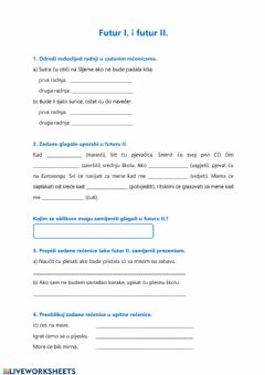 Interactive worksheet Futur I. i II.