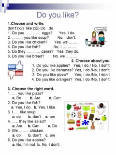 Interactive worksheet Do you like?