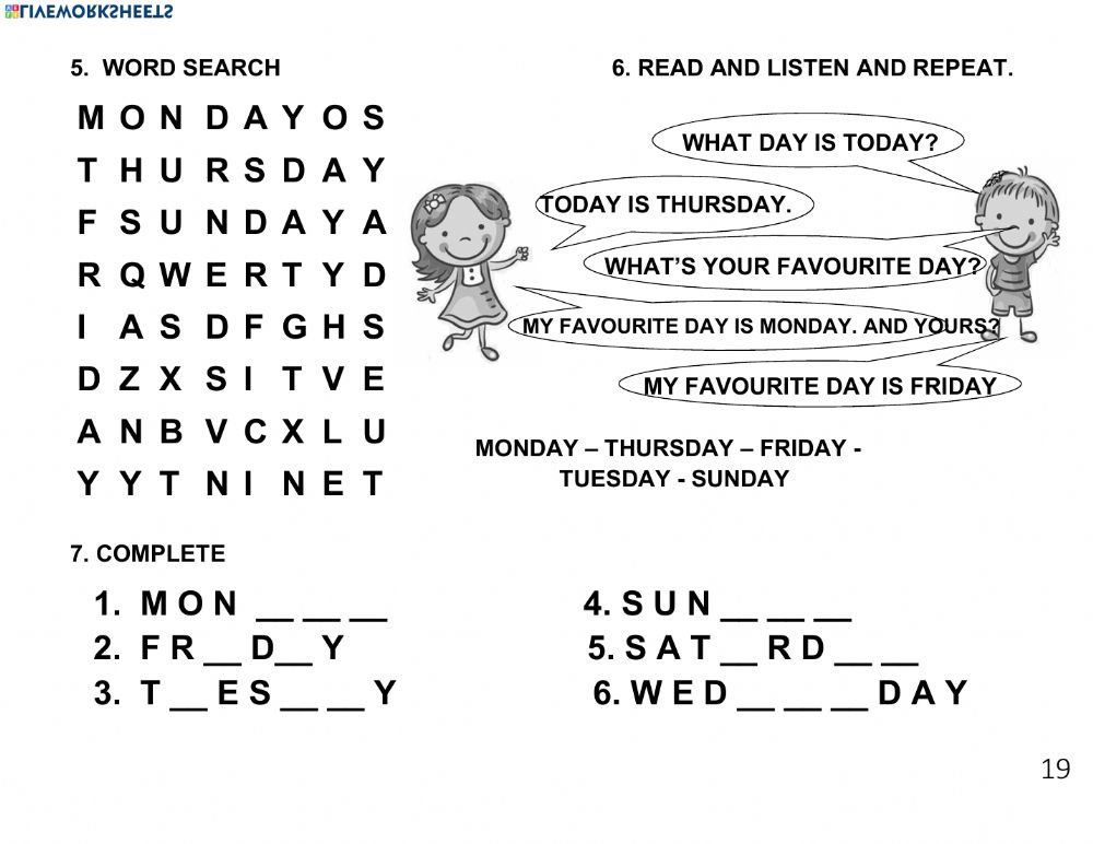 Days Of The Week Online Worksheet For 2 GRADE