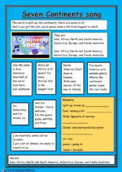 Interactive worksheet 7 Continents