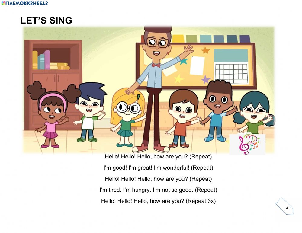 Hello Song Interactive Worksheet