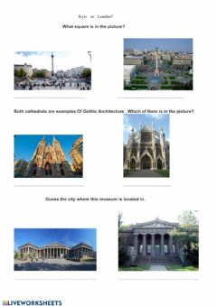 Interactive worksheet Kyiv, London,  famous places