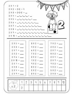 Interactive worksheet Умножение с 2