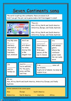 Interactive worksheet 7 Continents (extra)