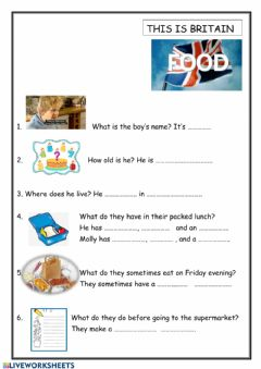 Interactive worksheet This is Britain. Food