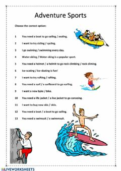Interactive worksheet Adventure Sports