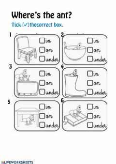 Ficha interactiva Prepositions: in- on- under