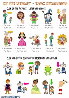 Interactive worksheet At the library-book characters