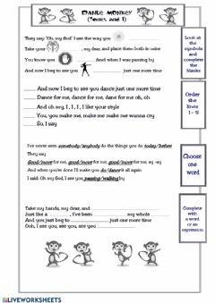 Interactive worksheet Dance monkey song