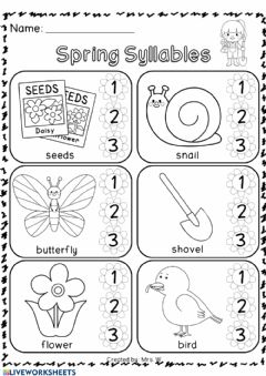 Interactive worksheet Counting syllables