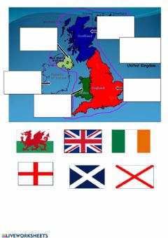 Interactive worksheet Flags - European English Speaking Countries