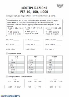 Interactive worksheet Moltiplico per 10,100,1000