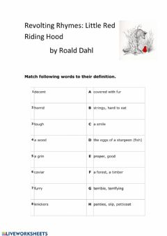 Interactive worksheet Red Riding Hood and the Wolf - Roald Dahl